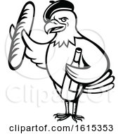 Clipart Of A Cartoon Black And White American Bald Eagle Mascot Wearing A French Beret And Holding A Baguette And Bottle Of Wine Royalty Free Vector Illustration