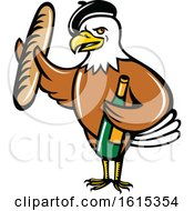 Clipart Of A Cartoon American Bald Eagle Mascot Wearing A French Beret And Holding A Baguette And Bottle Of Wine Royalty Free Vector Illustration