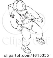 Clipart Of A Black And White Floating Astronaut Royalty Free Vector Illustration by patrimonio