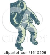 Clipart Of A Scratchboard Style Floating Astronaut Royalty Free Vector Illustration by patrimonio