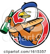 Clipart Of A Cartoon American Bald Eagle Mascot Wearing A French Beret And Holding A Baguette And Wine Bottle Royalty Free Vector Illustration