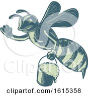 Clipart Of A Scratchboard Style Honey Bee Waving And Flying With A Pail Royalty Free Vector Illustration