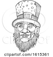 Clipart Of A Sketched Black And White Leprechaun With A Top Hat Royalty Free Vector Illustration