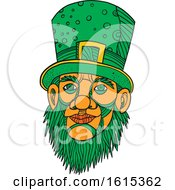 Clipart Of A Sketched Leprechaun With A Green Beard And Top Hat Royalty Free Vector Illustration