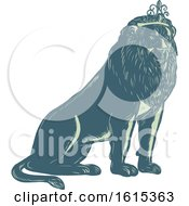 Clipart Of A Scratchboard Style King Lion Royalty Free Vector Illustration