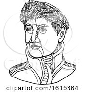 Clipart Of Black And White Emperor Napoleon Bonaparte Wearing Laurel Leaf On His Head Royalty Free Vector Illustration
