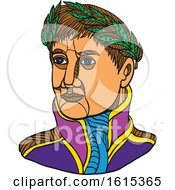 Clipart Of Emperor Napoleon Bonaparte Wearing Laurel Leaf On His Head Royalty Free Vector Illustration by patrimonio