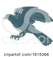 Clipart Of A Scratchboard Style Northern Goshawk Bird Royalty Free Vector Illustration