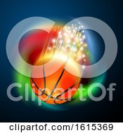 Basketball With Magical Flares And A Colorful Spiral