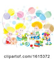 Clipart Of A Birthday Party With Balloons And Children Playing With Toys Royalty Free Vector Illustration