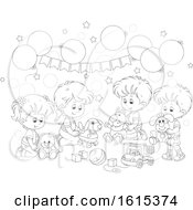 Clipart Of A Lineart Kids Birthday Party With Balloons And Toys Royalty Free Vector Illustration
