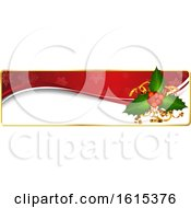Clipart Of A Christmas Website Banner Header With Holly Royalty Free Vector Illustration