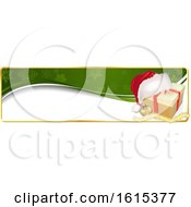 Clipart Of A Christmas Website Banner Header With A Gift Royalty Free Vector Illustration