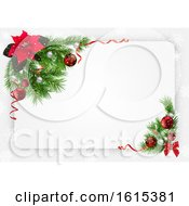 Poster, Art Print Of Christmas Poinsettia And Branch Border