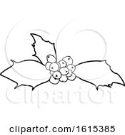 Clipart Of A Black And White Sprig Of Christmas Holly Royalty Free Vector Illustration