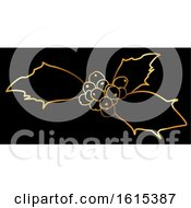 Golden Sprig Of Christmas Holly On Black