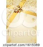 Clipart Of A Golden Christmas Background With Snowflakes Ribbons And A Gift Bow Royalty Free Vector Illustration