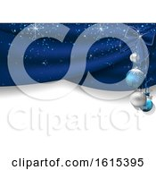 3d Christmas Background With Blue Baubles