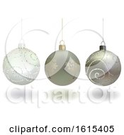 3d Christmas Baubles On A White Background