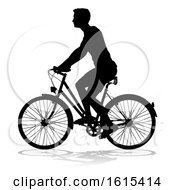 Bike Cyclist Riding Bicycle Silhouette On A White Background