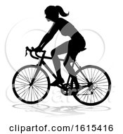 Woman Bike Cyclist Riding Bicycle Silhouette On A White Background