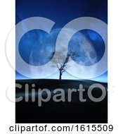 3D Tree Against A Moon Night Sky