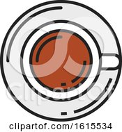 Clipart Of A Coffee Cup On A Saucer Royalty Free Vector Illustration