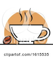 Clipart Of A Coffee Cup And Bean Royalty Free Vector Illustration