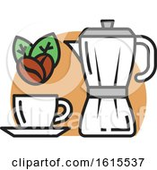 Clipart Of A Coffee Cup With Beans Royalty Free Vector Illustration