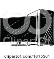 Clipart Of A Desktop Computer Royalty Free Vector Illustration