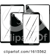 Clipart Of Cell Phones And Tablets Royalty Free Vector Illustration