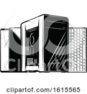 Clipart Of A Desktop Computer Tower With Smart Phones And A Keyboard Royalty Free Vector Illustration