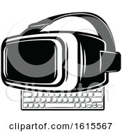 Clipart Of A Computer Keyboard And Virtual Reality Goggles Royalty Free Vector Illustration