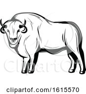 Clipart Of A Black And White Bison Royalty Free Vector Illustration by Vector Tradition SM