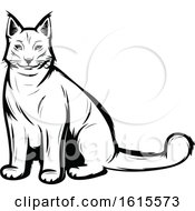 Clipart Of A Black And White Lynx Royalty Free Vector Illustration