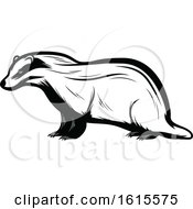 Clipart Of A Black And White Badger Royalty Free Vector Illustration