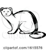 Clipart Of A Black And White Weasel Royalty Free Vector Illustration