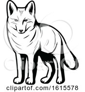 Clipart Of A Black And White Coyote Royalty Free Vector Illustration
