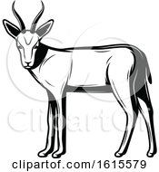 Clipart Of A Black And White Gazelle Royalty Free Vector Illustration