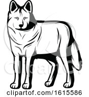 Clipart Of A Black And White Wolf Royalty Free Vector Illustration by Vector Tradition SM