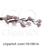 Clipart Of A Sketched Branch With Blossoms Royalty Free Vector Illustration by Vector Tradition SM