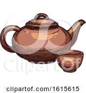 Clipart Of A Sketched Cup And Tea Pot Royalty Free Vector Illustration
