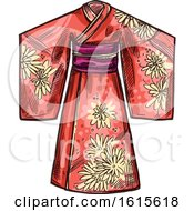 Clipart Of A Sketched Kimono Royalty Free Vector Illustration