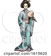 Clipart Of A Sketched Geisha Royalty Free Vector Illustration by Vector Tradition SM