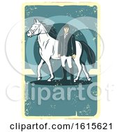 Clipart Of A Retro Horse And Equestrian On A Distressed Background Royalty Free Vector Illustration