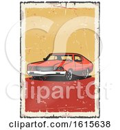Clipart Of A Muscle Car On A Distressed Background Royalty Free Vector Illustration