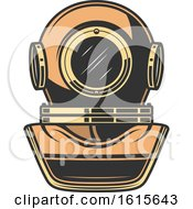 Clipart Of A Nautical Diving Helmet Royalty Free Vector Illustration
