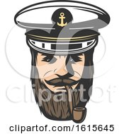 Clipart Of A Captain Smoking A Pipe Royalty Free Vector Illustration