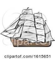Clipart Of A Ship Royalty Free Vector Illustration