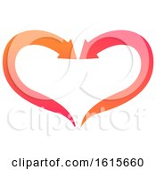 Poster, Art Print Of Pink And Orange Arrow Heart Design